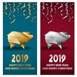 Golden and Silver Pig as a Symbol of Chinese New Year 2019. royalty free illustration
