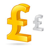 Golden And Silver Pound Sterling Currency Money Symbol Royalty Free Stock Photos
