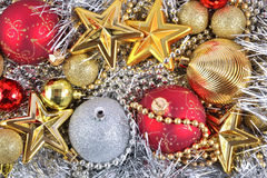 Golden, silver and red  Christmas decorations Stock Image