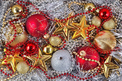 Golden, silver and red  Christmas decorations Royalty Free Stock Photos