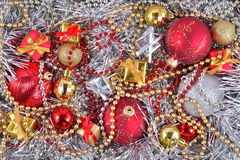 Golden, silver and red  Christmas decorations Royalty Free Stock Photography