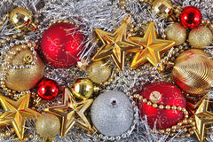 Golden, silver and red  Christmas decorations Royalty Free Stock Image