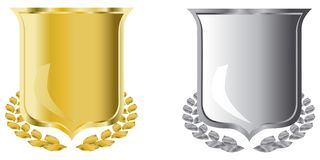 Golden and silver shields vector illustration