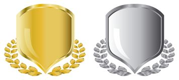 Golden and silver shields Stock Photo