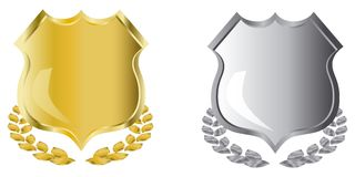 Golden and silver shields Stock Photography
