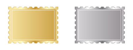 Golden and silver stamp. Vector illustration Royalty Free Illustration