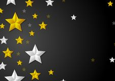Golden and silver stars abstract background. Vector luxury design Stock Photography