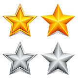 Golden and silver stars. Stock Photos