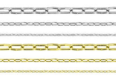 Golden and silver steel chains set isolated Royalty Free Stock Photo