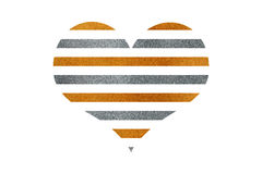 Golden and silver striped heart. Royalty Free Stock Images