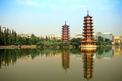 Golden and silver tower in the lake in the lake Royalty Free Stock Photography