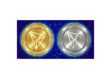 Golden and silver Tron TRX cryptocurrency coins on blockchain background stock illustration