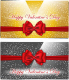 Golden and silver Valentines cards Stock Photo