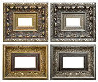Golden and silver vintage frame isolated on white background Stock Photo