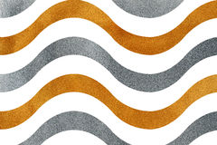 Golden and silver wavy striped background. Stock Image