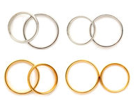 Golden and silver wedding rings Royalty Free Stock Photography