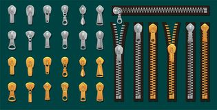 Golden and silver zippers and fasteners set. Vector Dye-to-Match Zippers for fashion design, prints etc. Cartoon pullers. Accessories for clothing, bags, shoes stock illustration
