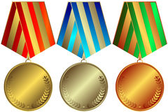 Golden, silvery and bronze medals. With striped ribbons (vector vector illustration