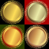 Golden, silvery and bronze plates. With vintage ornament (vector stock illustration