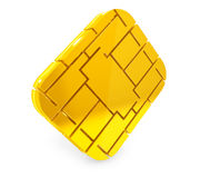 Golden SIM or Credit Card Microchipon Royalty Free Stock Photo
