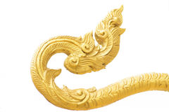 Golden singha lion tail statue Royalty Free Stock Photos