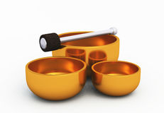 Golden Singing Bowls on white 02. 3 3D golden singing Bowls on white background royalty free illustration