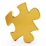 Golden single puzzle. 3d illustration of golden single puzzle on white background Stock Illustration