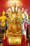 Golden sitting buddha Stock Photography