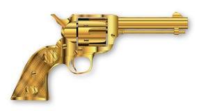 Golden Six Gun Stock Photo
