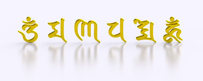 Golden six word mantra buddhism. Six gold syllable Sanskrit letters Om Ma Ni Pad Me Hum. Religious element Royalty Free Stock Photo