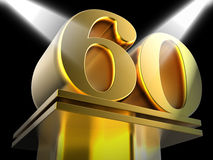 Golden Sixty On Pedestal Shows Sixtieth Royalty Free Stock Photo