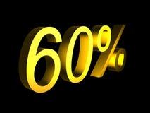 Golden sixty percent on black background 3d render. Sales financial concept stock illustration