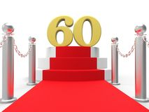 Golden Sixty On Red Carpet Means Movies And Royalty Free Stock Images