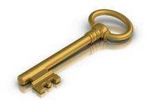 Golden Skeleton Key. Beautiful golden skeleton key on white reflective surface vector illustration