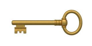 Golden Skeleton Key. Beautiful golden skeleton key. isolated on white stock illustration