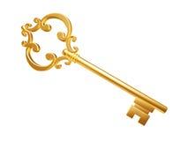 Golden Skeleton Key. Isolated on white background Royalty Free Stock Photos