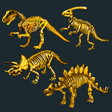 Golden skeletons of four different dinosaurs Stock Image