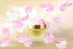 Golden skincare cream cosmetics ads. Realistic 3d vector illustration promotion promo poster. Flying delicate pink rose Royalty Free Stock Photo