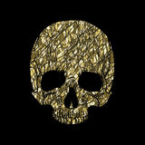 Golden skull on a black background Stock Photos