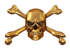 Golden Skull and Crossbones. Solid gold skull & crossbones on white - 3d render vector illustration