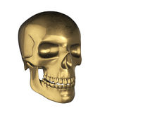 Golden skull in human perspective, isolated on white background Stock Photo