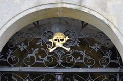 Golden skull. At Kuks hospital , Nachod,  in Czech Republic Stock Photo