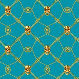 Golden skull seamless pattern Stock Images