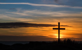 Golden Sky Cross Stock Photos