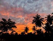 Golden sky at dusk over Gokarna,India stock image