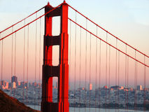 Golden Skyline. Golden Gate with the San Francisco skyline royalty free stock images