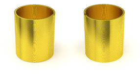 Golden slinky spring isolated Stock Photos