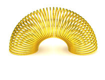Golden slinky spring isolated. Gold helical spring metallic toy. PNG with transparent background Royalty Free Stock Photo