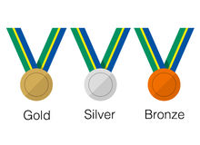 Golden sliver medals for winners, vector illustration Royalty Free Stock Photos