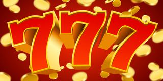 Golden slot machine 777 with flying golden coins wins the jackpot. Big win concept. Vector illustration royalty free illustration